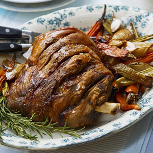 Roast shoulder of lamb with vegetables